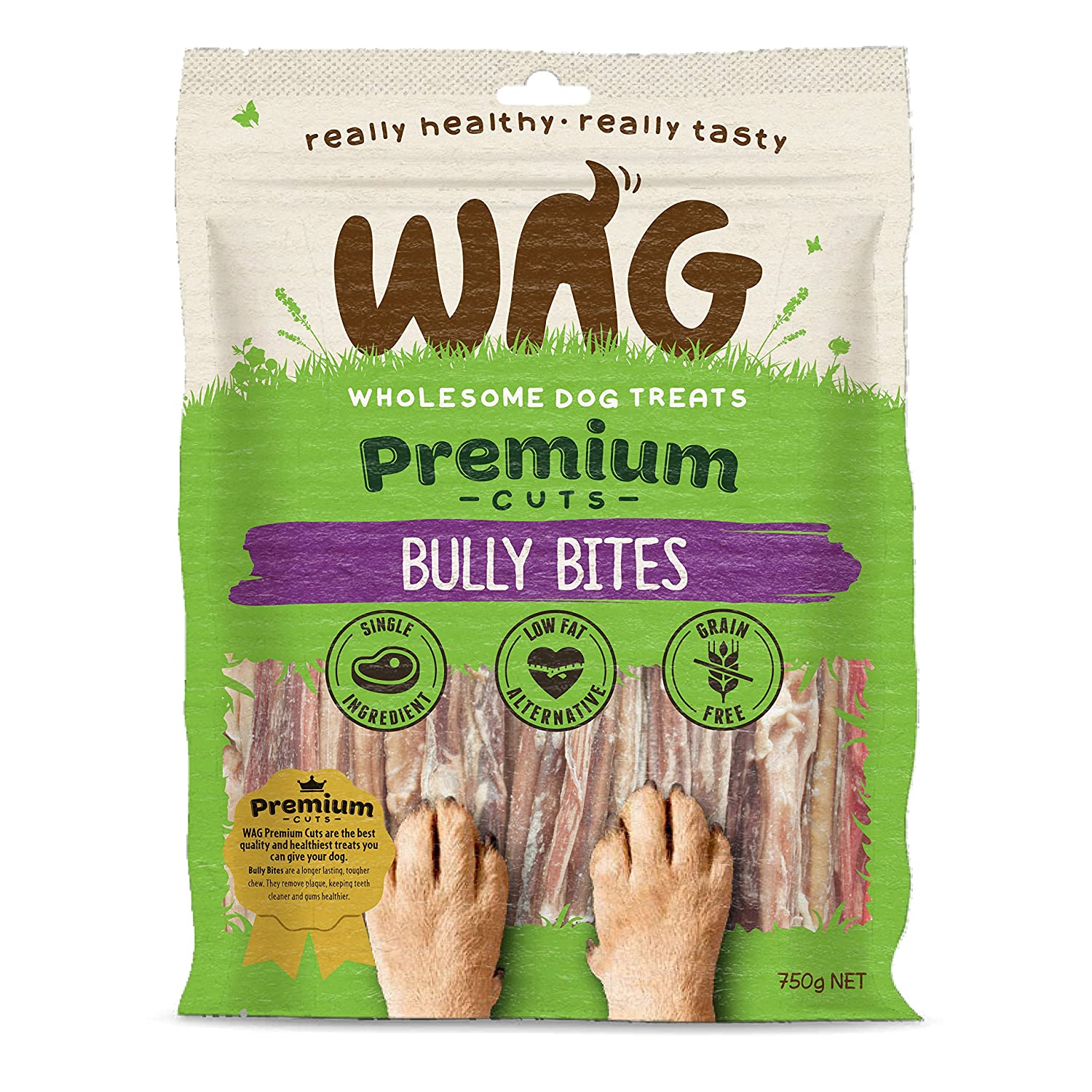 750g WAG Bully Bites 750g, Grain Free Hypoallergenic Natural Dog Treat Chew, Perfect for All Sizes & Breeds