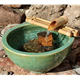 """Bamboo Accents Water Fountain for Yard, Indoor/Outdoor Fountain, 12"""" Wide Three-Arm Style Base, Smooth Split-Resistant Bamboo"""