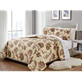 MK Home 3pc Full/Queen Bedspread Quilted Print Floral Beige Red Blue Taupe Over Size New # Jane 64