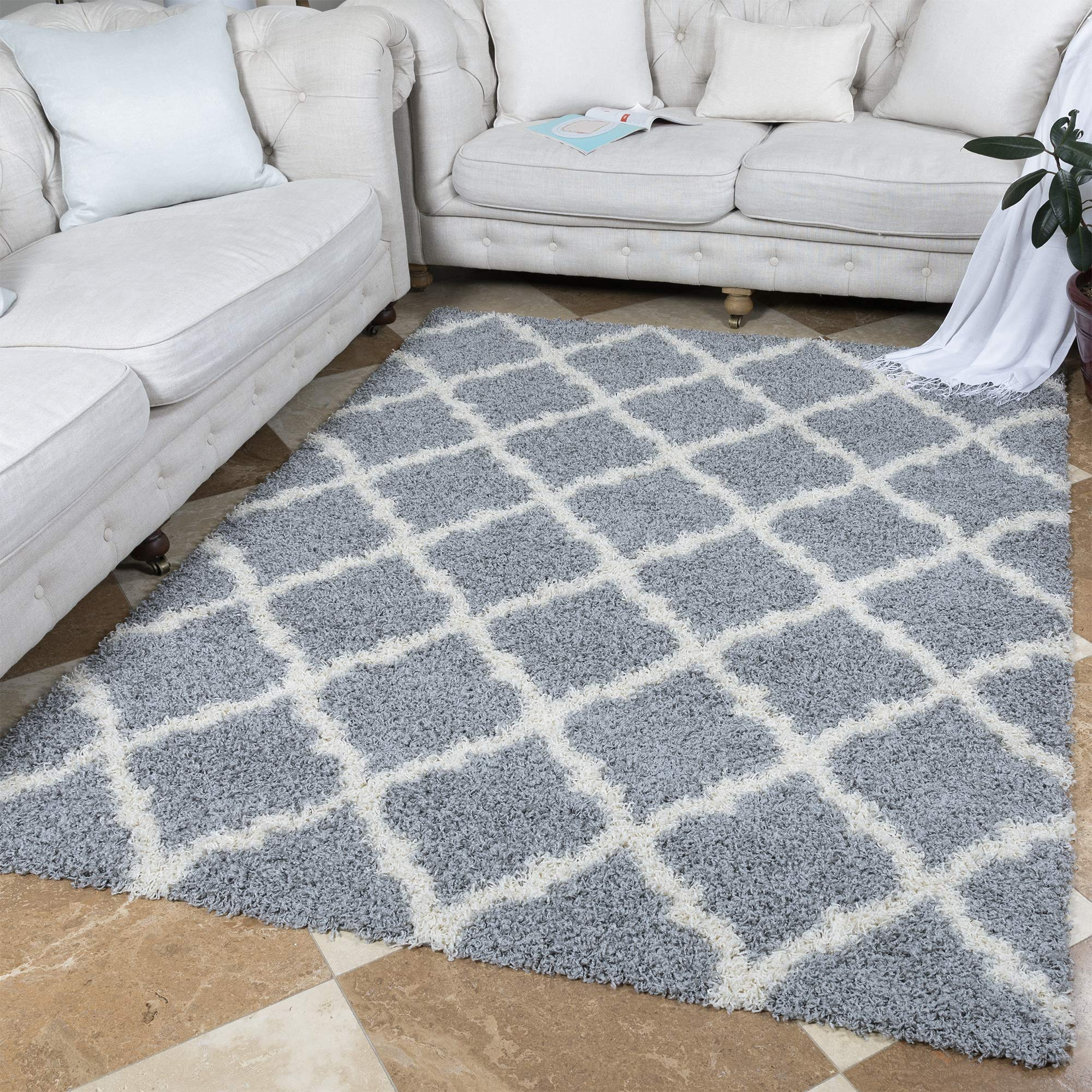 "Ottomanson Collection shag Trellis Area Rug, 5'3"" x 7', Gray product image"