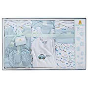 Big Oshi 10 Piece Layette Newborn Baby Gift Set for Boys - Great Baby Shower or Registry Gift Box to Welcome a New Arrival - All Essentials - 2 Bodysuits, 4 Shirts, Bib, Pants, Booties, & Cap, Blue
