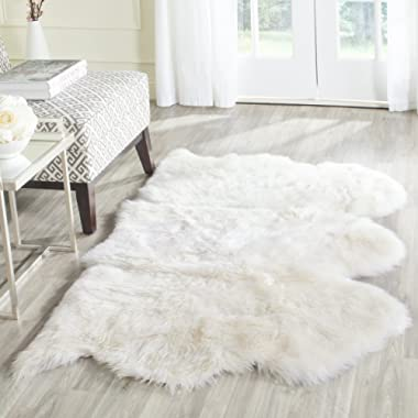 Safavieh Sheepskin Collection SHS121A Genuine Sheepskin Pelt White Premium Shag Rug (3' x 5')