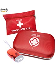 First Aid Kit: For Car Business Travel Home Office Camping Hiking Boat Mini All Purpose First-Aid Supplies Vehicle Survival Emergency Response Compact Scissors Tweezers Bandages Gauze Tape 2-Pack
