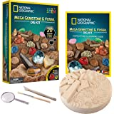 NATIONAL GEOGRAPHIC Mega Fossil and Gemstone Dig Kits - Excavate 20 Real Fossils and Gems, Great STEM Science Gift for Minera