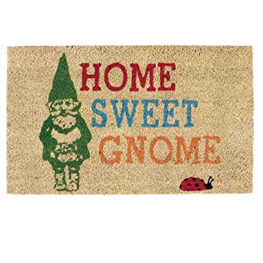 DII Indoor/Outdoor Natural Coir Easy Clean Rubber Back Entry Way Doormat For Patio, Front Door, All Weather Exterior Doors, 18 x 30  - Home Sweet Gnome