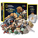 NATIONAL GEOGRAPHIC Rocks & Fossils Kit – 200 Piece Set Includes Geodes, Real Fossils, Rose Quartz, Jasper, Aventurine & Many