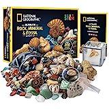 NATIONAL GEOGRAPHIC Rocks & Fossils Kit – 200 Piece Set Includes Geodes, Real Fossils, Rose Quartz, Jasper, Aventurine & Many