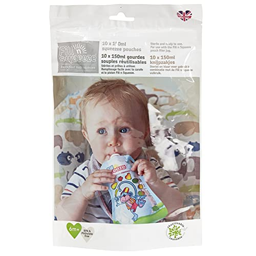 Fill n Squeeze Refill Pack of Reusable Pouches For Babies and Toddlers, 10 x 150 ml (to be used with Fill n Squeeze Pouch Filling System)