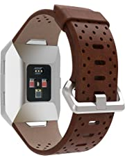 EloBeth for Fitbit Ionic Band, Leather Band Bracelet Replacement Wrist Watch Band for Fitbit Ionic Watch (Brown 2)