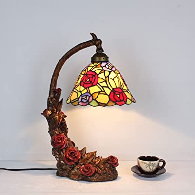 Tiffany Style Stained Glass Table Lamp 23 Inch Victorian Style Colorful Floral Leaf Accent Lamp