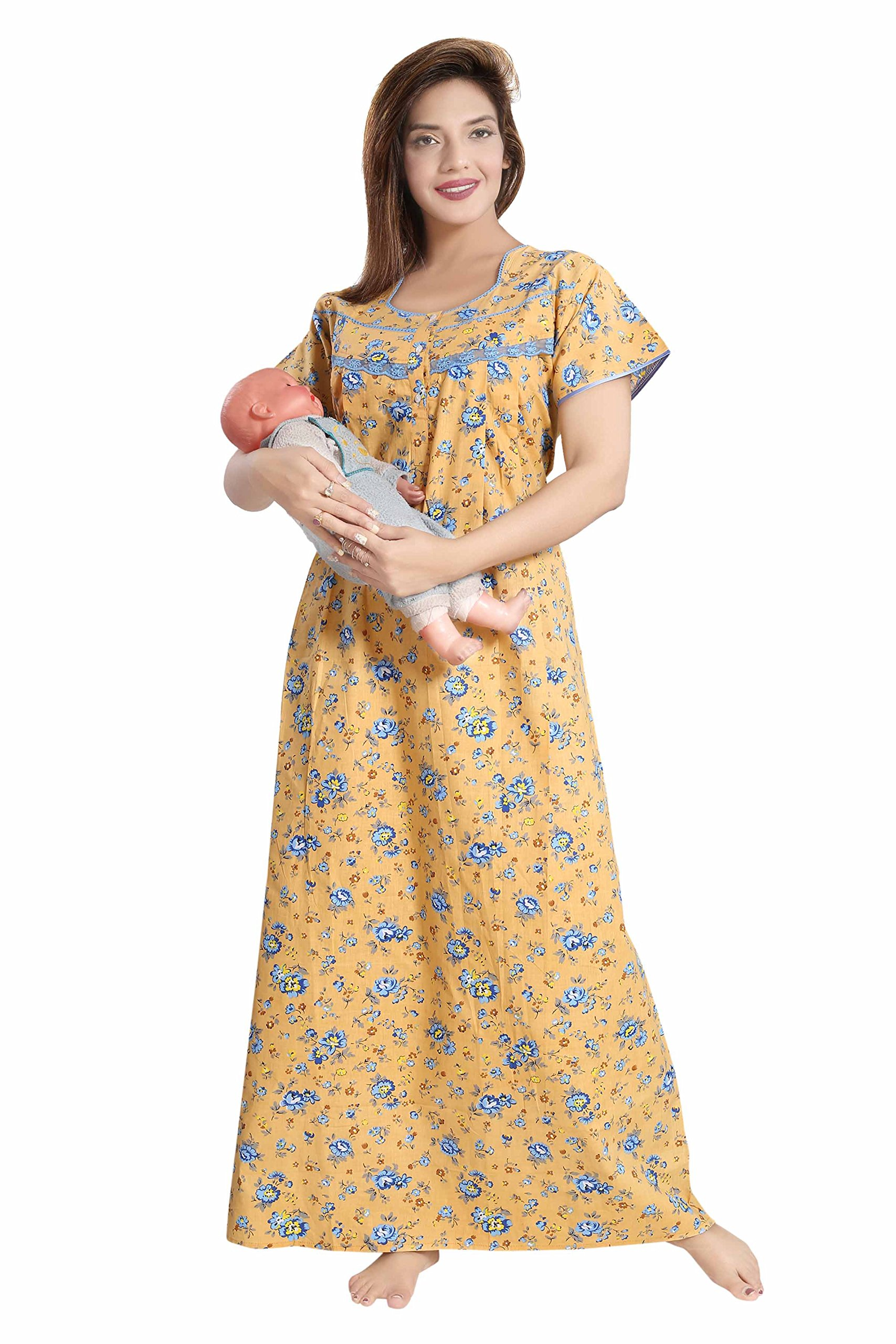 Soulemo Women's Pure Cotton Feeding Nighty/Maternity Dress for Post & Pre Pregnancy Wear. 399 product image