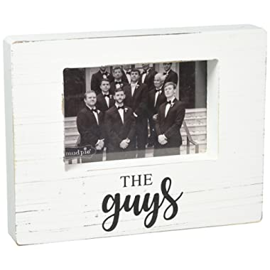 Mud Pie Guys White Washed Wooden Block Picture Frame, One Size