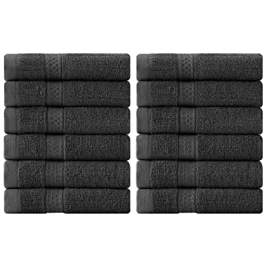 Utopia Towels Luxury Cotton 600 GSM Washcloths - 12 Pack, Dark Grey, 12 x 12 Inches Extra Soft Wash Cloths