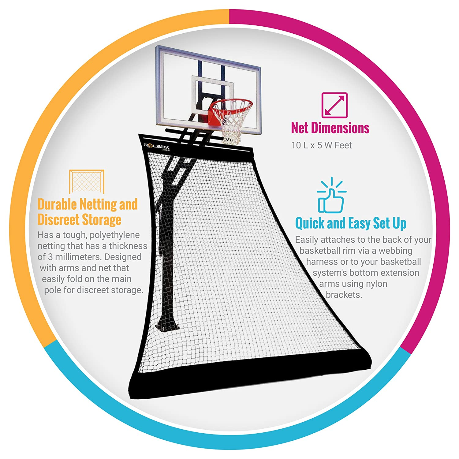 Amazon.com   Rolbak Gold Foldable Basketball Return Net with 1 Refillable  Water Tube 9a5263a27bf24