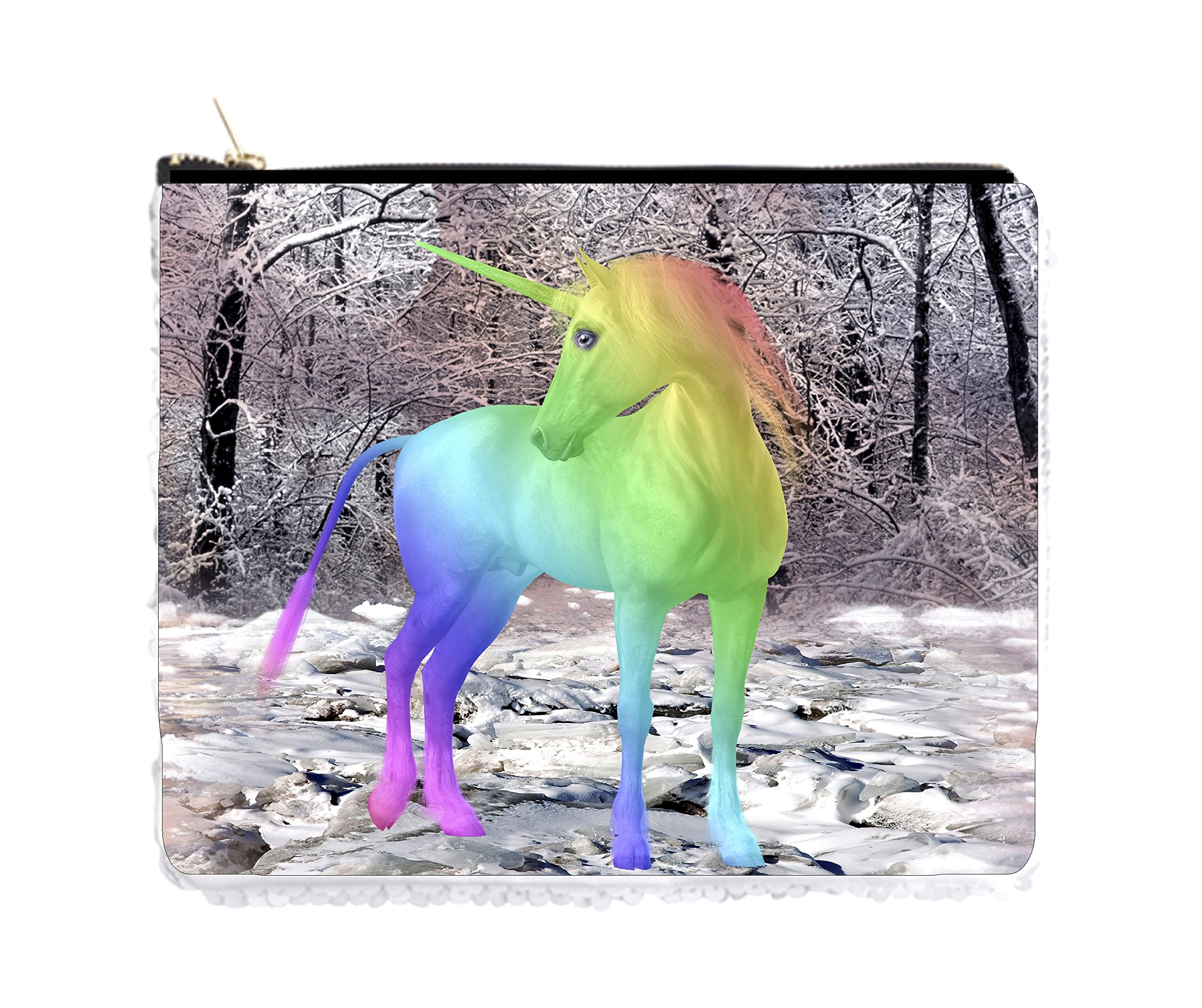 Rainbow Unicorn in a Snowy Forest - Double Sided 6.5'' x 8'' White/Silver Two-Tone Magic Sequin Pencil Case/Bag