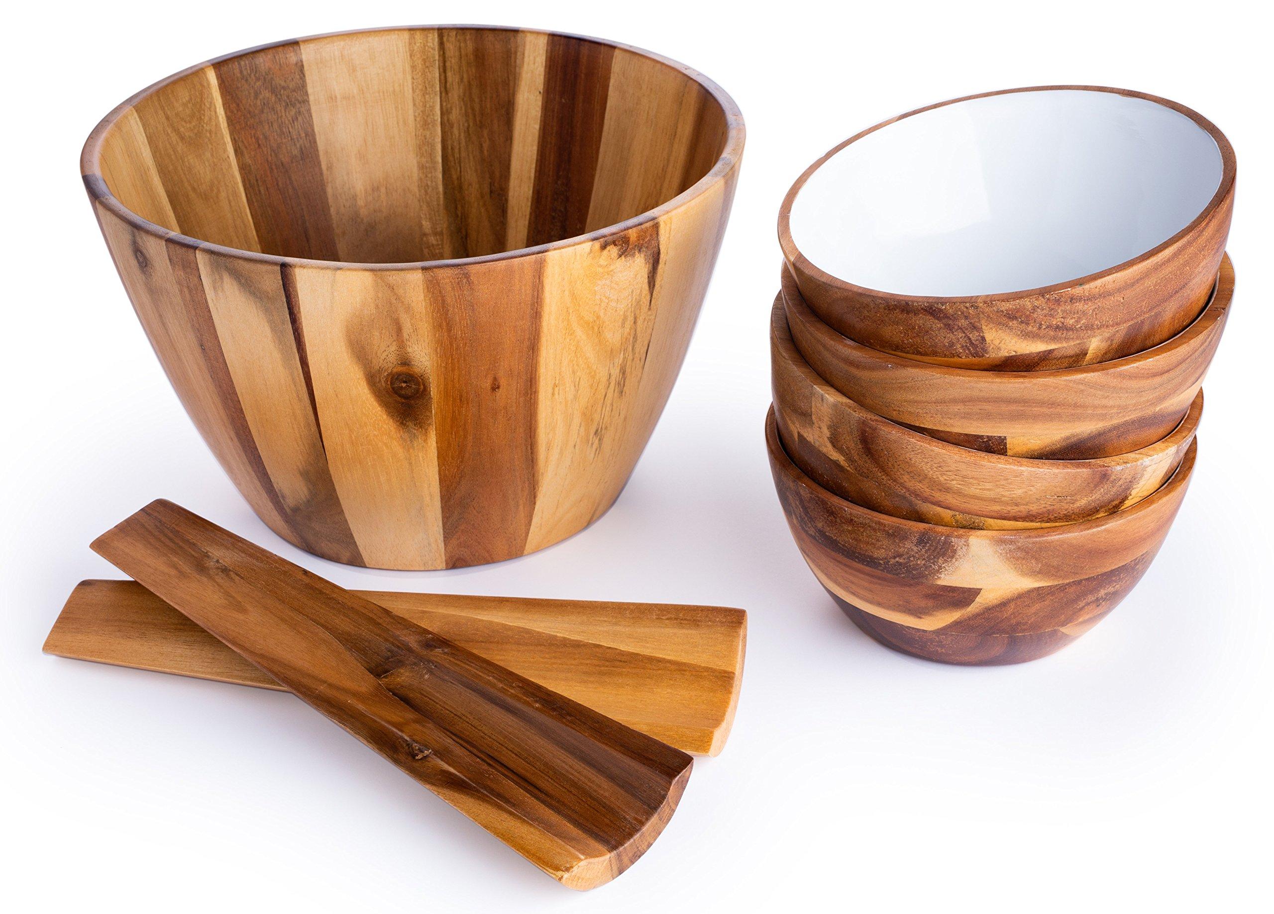 Casa Bellante CB-1806 Acacia Wood Salad Bowl 7-Piece Set Includes Salad Bowl/4 Serving Dish/Utensils, Natural