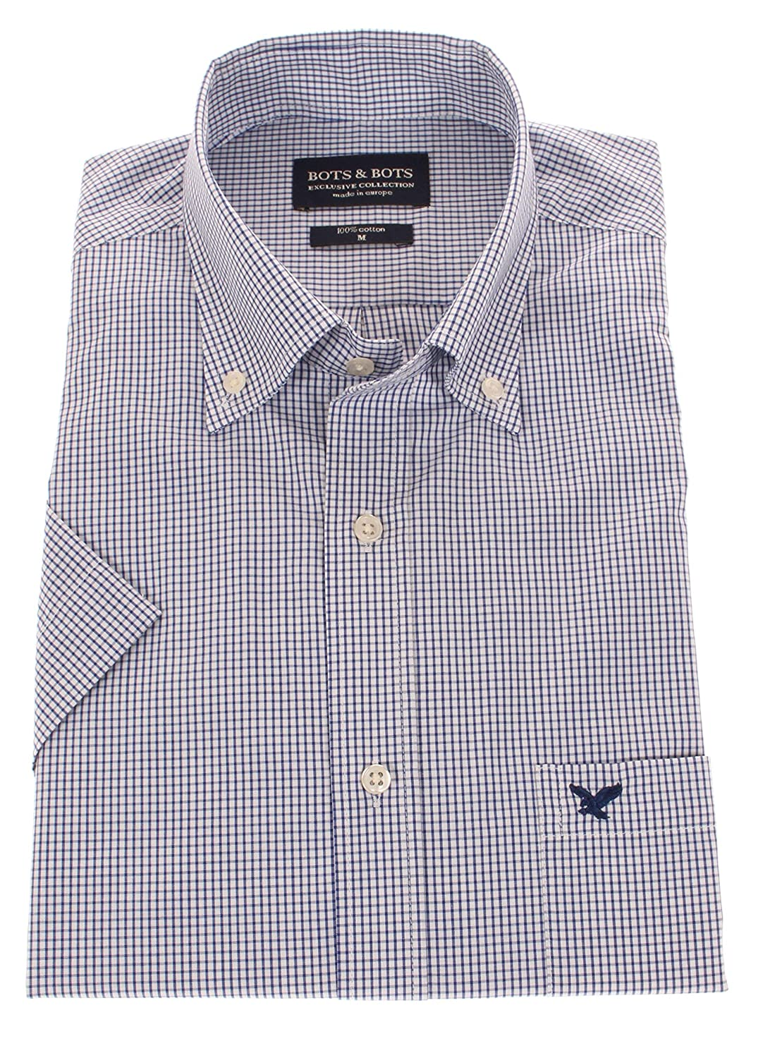 Cotone Bots /& Bots 197035 Camicia Uomo Normal Fit Button Down Manica Corta