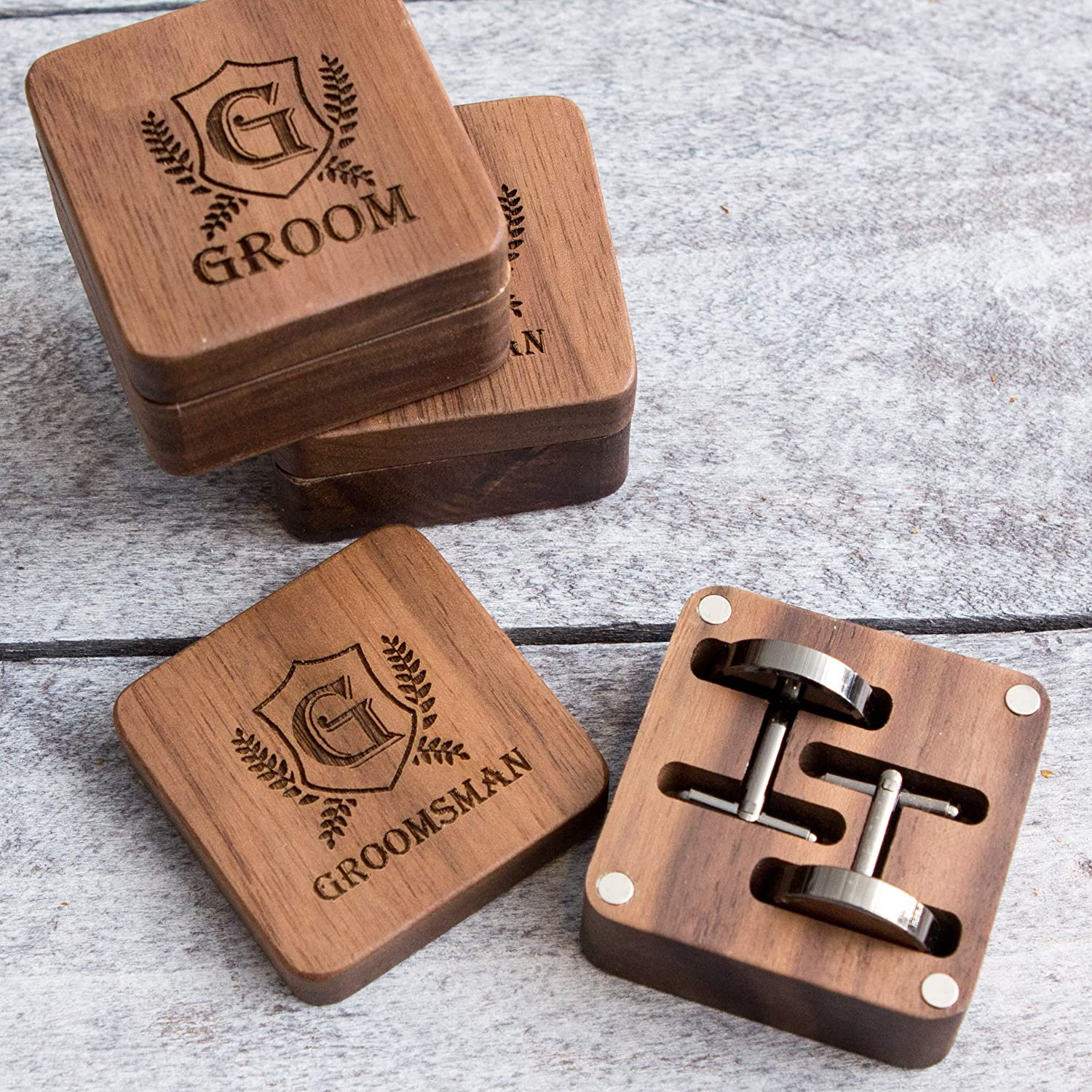 Wedding Cuff links Party Favor Gift for Dad on Wedding or Batchelor Party Engraved Groomsman Square Box /& Gunmetal Cufflinks