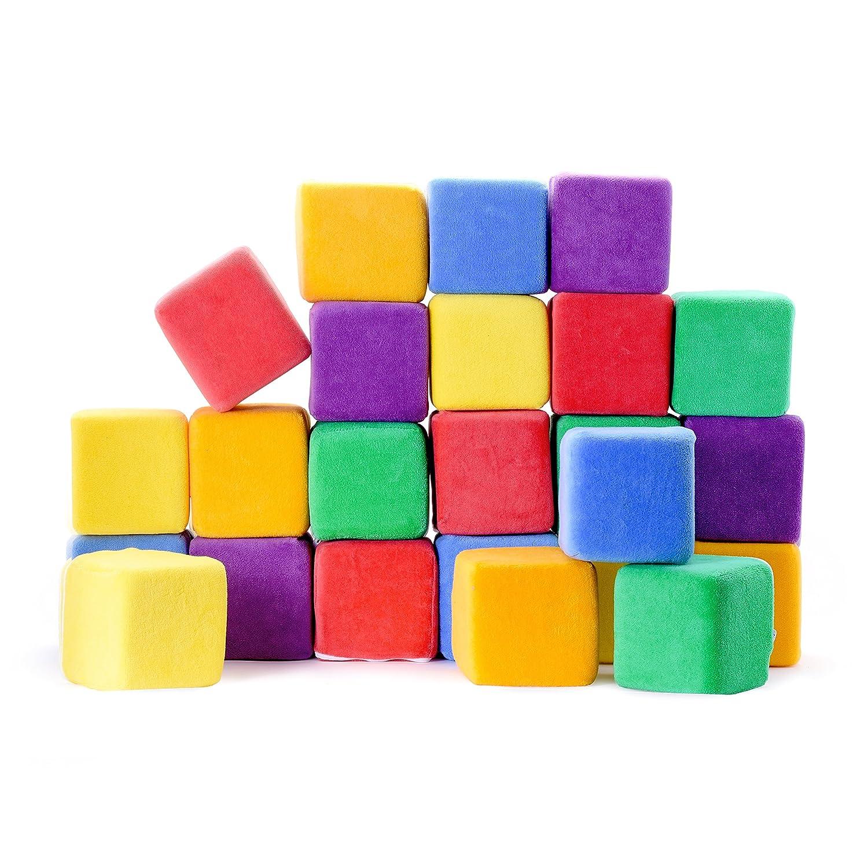 Sortieren und Bauen Softbausteine aus Schaumstoff zum Stapeln 10 cm Jumbo-Gr/ö/ße W/ürfel mit abnehmbaren Bez/ügen und Tragetasche 24 St/ück Milliard