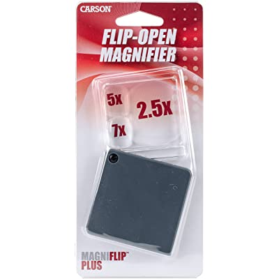 Carson GN-44 Magniflip Plus 2.5X/5X/7X Flip-Open Magnifier with Built-in Protective Case: Sports & Outdoors