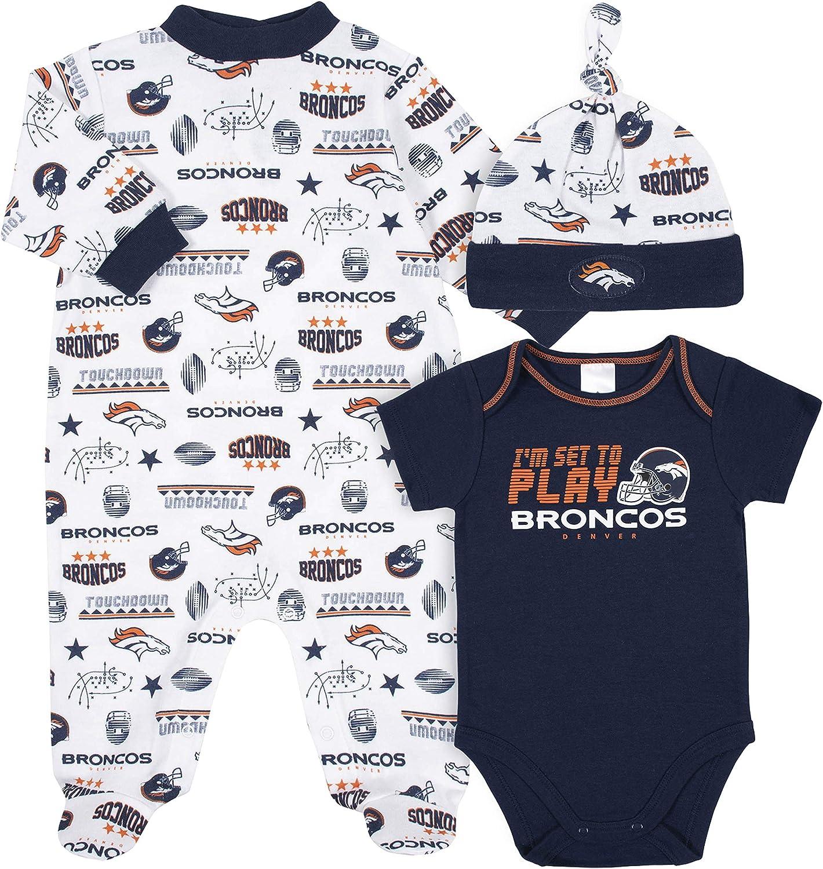 NFL NFL Baby-Boy 3 Pack Bodysuit Sleep n Play Footie Cap Registry Gift Set