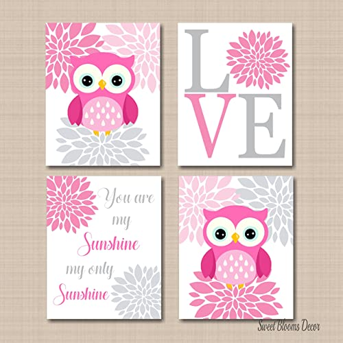 Pink Baby Nursery Decor CANVAS Wall Art You Are My Sunshine Set of 4 Owls