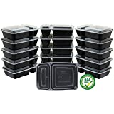 16 Pack - SimpleHouseware 2-Compartment Reusable Meal Prep Storage Container Boxes (28 ounces)