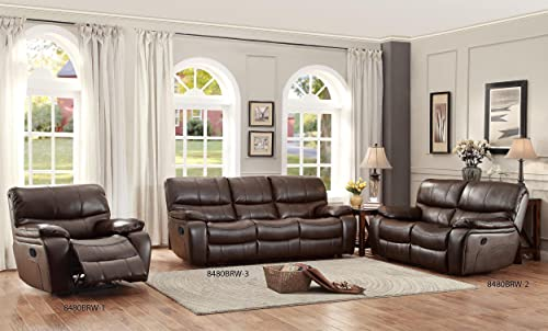 Homelegance Pecos Leather Gel Manual Glider Recliner, Dark Brown