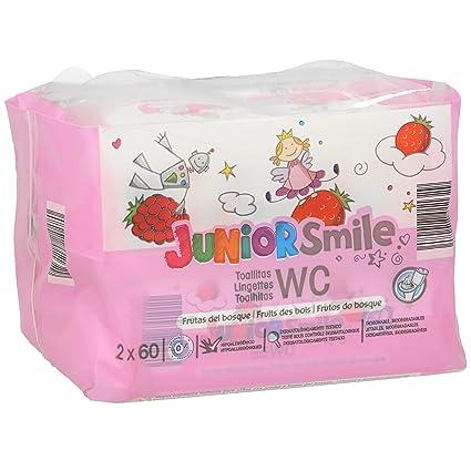 JUNIORSMILE toallitas wc aroma frutas del bosque pack 120 uds (2 paquetes 60uds)