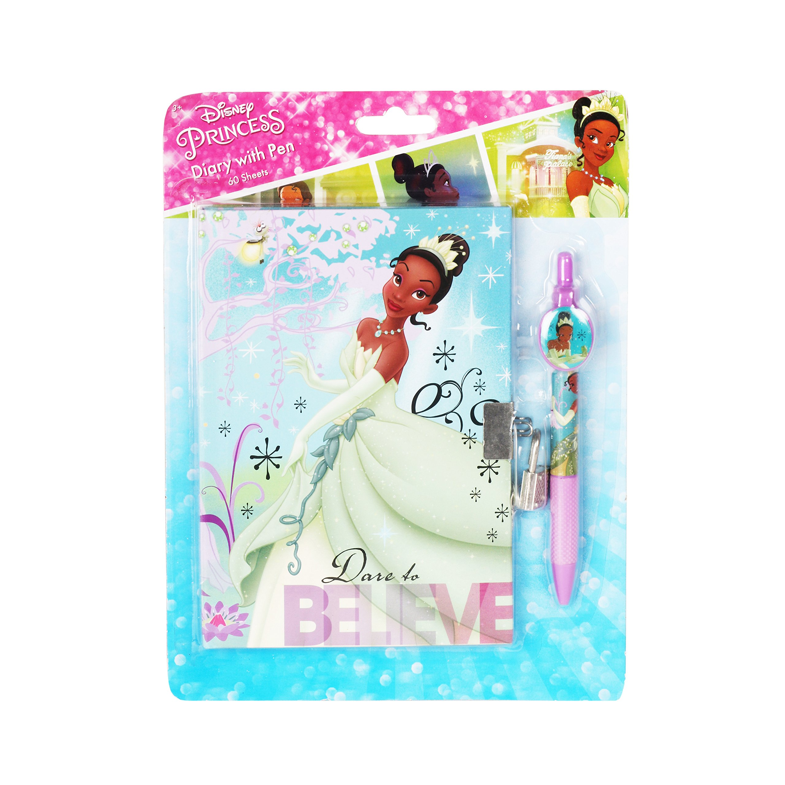 Disney Princess Tiana Colorful Diary with Pink Pen and Silver Lock for Girls