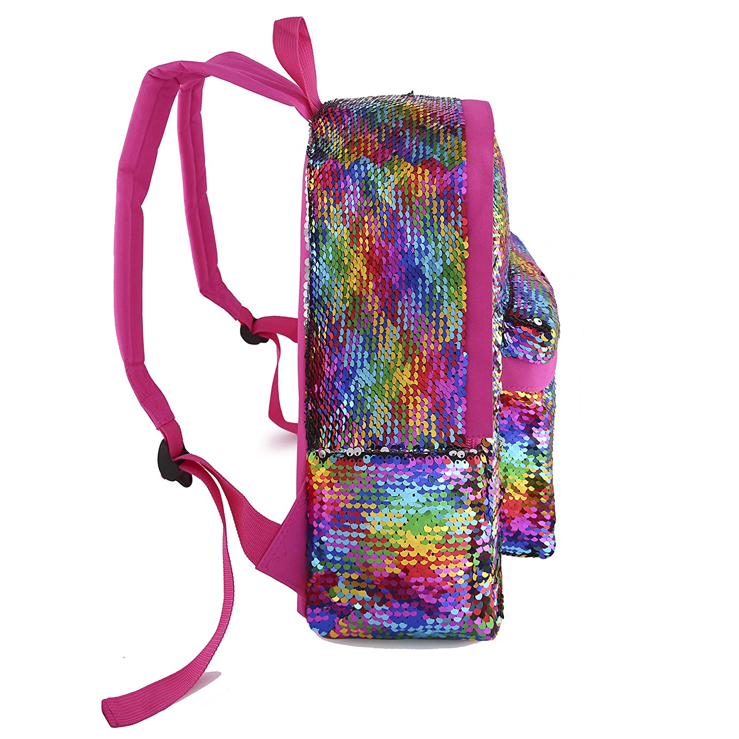 Toddler Backpack for Girls Glitter Preschool Backpack Sparkly Magic Mermaid Small Sequins Bookbags Pink