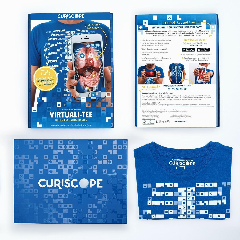 Bleu Enfants: XS Educational T-Shirt de r/éalit/é augment/ée Curiscope Virtuali-Tee