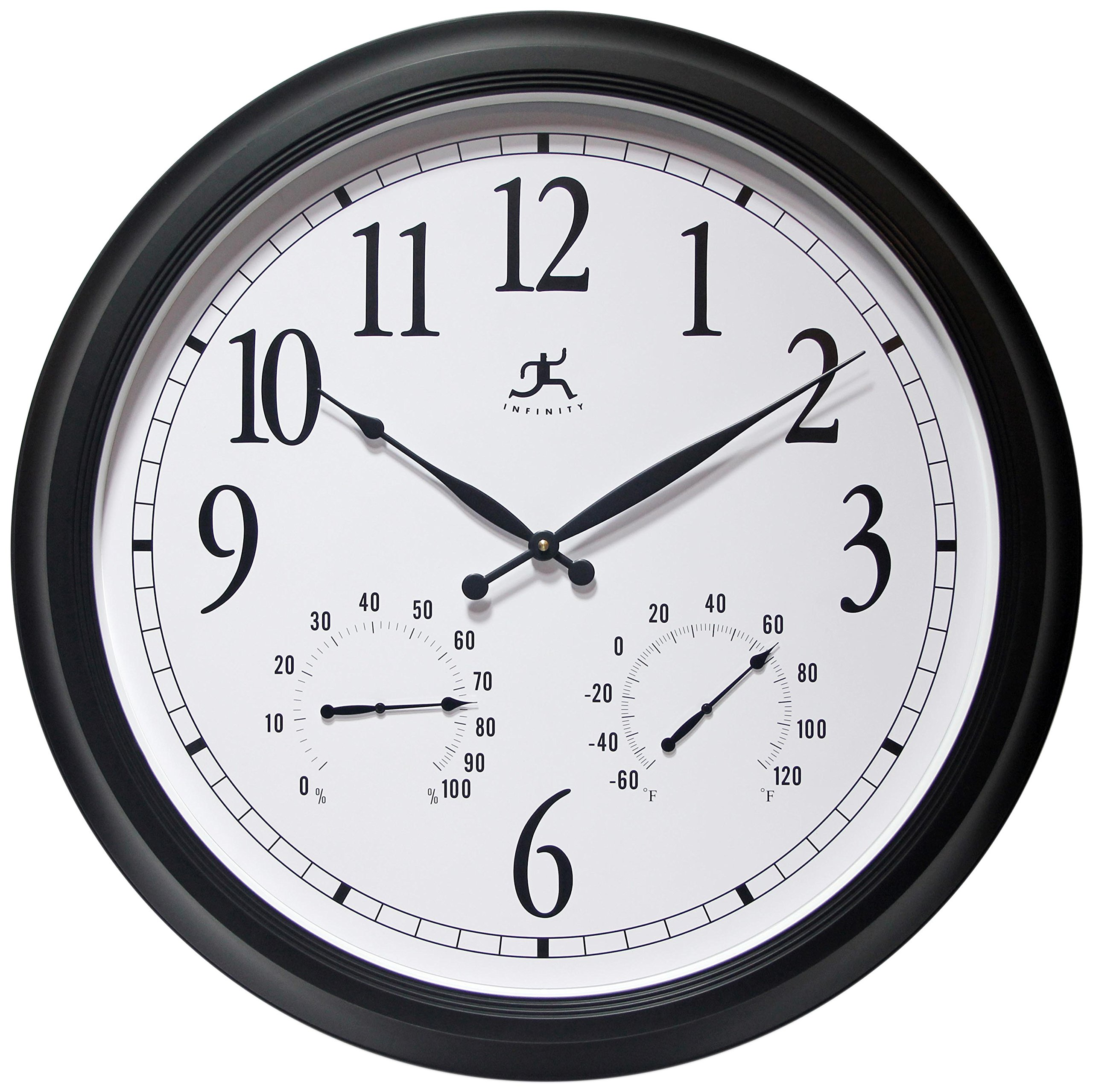 24 inch Black Wall Clock The Definitive by Infinity Instruments