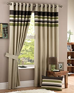 Green Curtains amazon green curtains : Curtina 'Harvard' Lined Eyelet Curtains 90x90