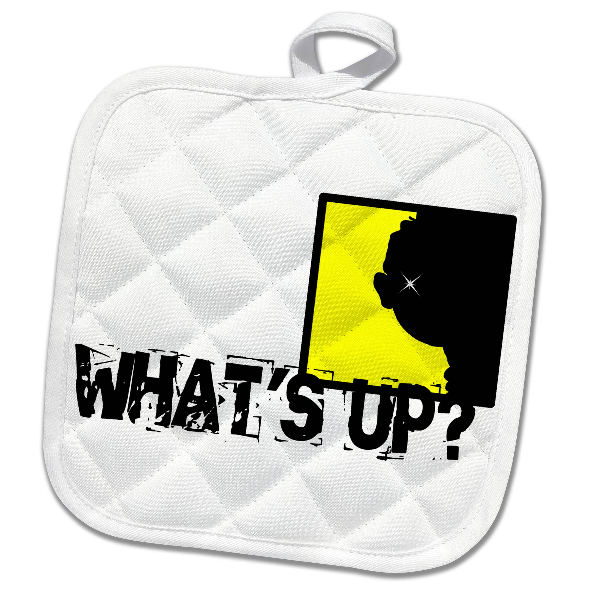 3dRose Alexis Design - Funny - A head in an yellow window. What is up. Funny design on white - 8x8 Potholder (phl_271649_1)