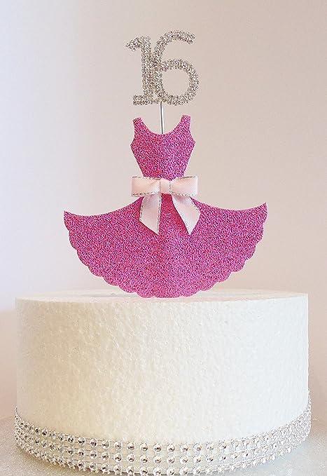 16th Birthday Cake Decoration Pink Dress With Diamante Crystal