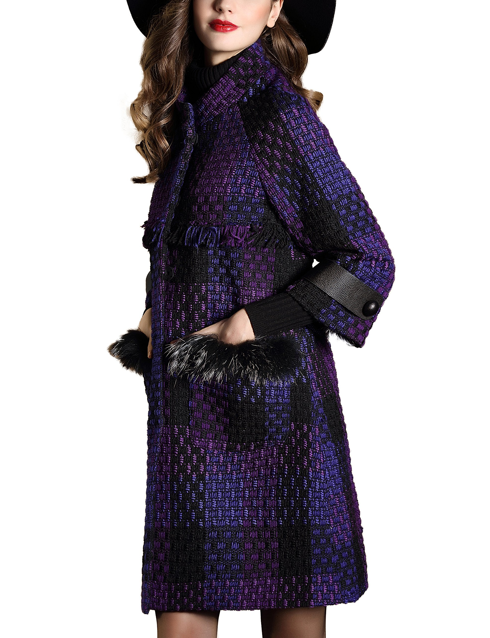 DanMunier Women's Winter Classic Double-Breasted Coat #4358 (M, Purple) by DanMunier (Image #3)