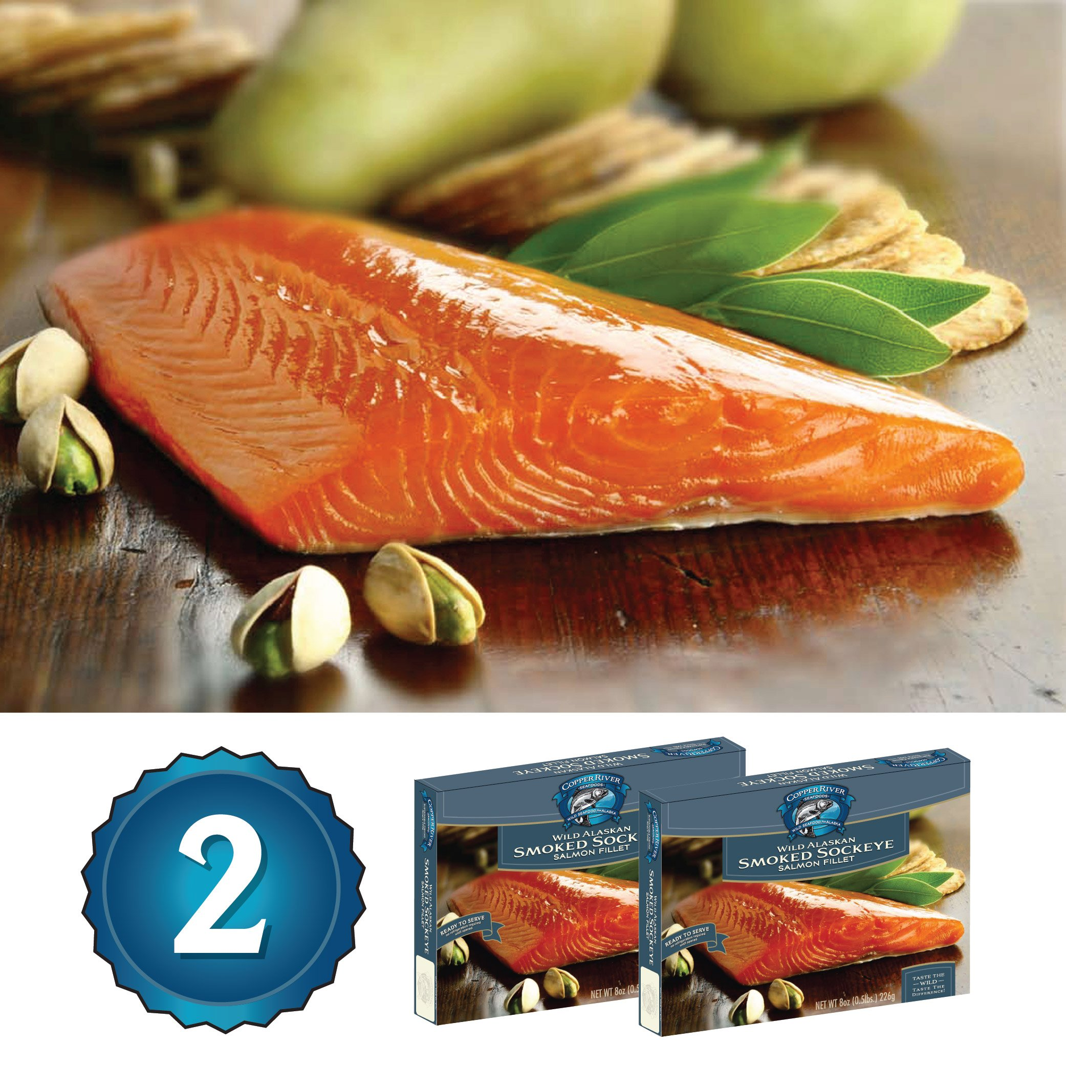 Alaska Smoked Salmon - Copper River Seafoods, Inc. - 2 Pack Gift Set - Alaska Smoked Sockeye Salmon (8 oz. each) by Copper River Seafoods