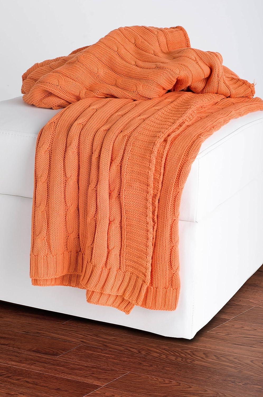 "Rizzy Home TH0160 Throw, 50""X60"", Orange"