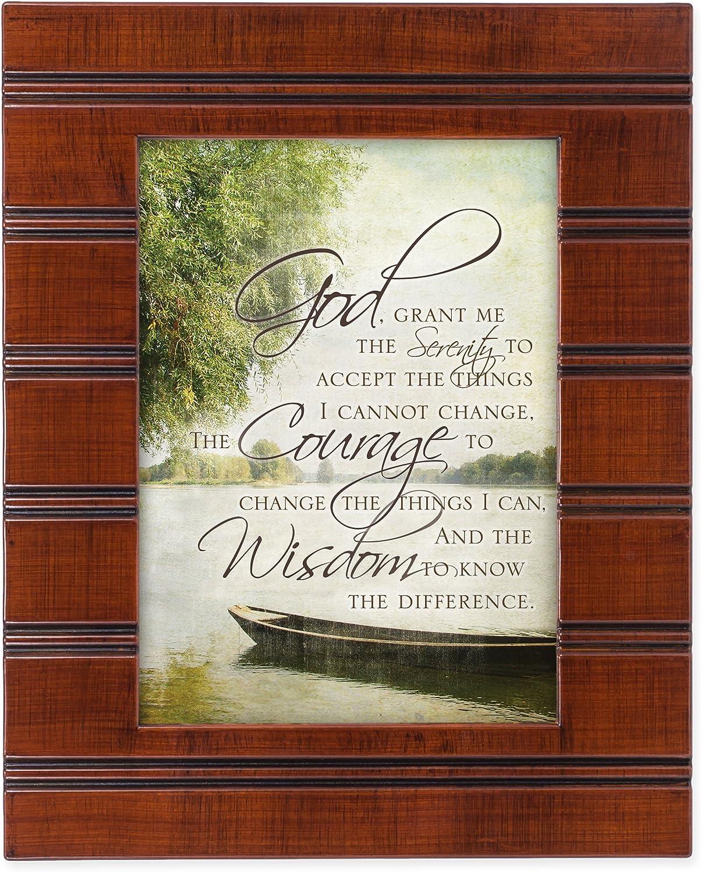 Cottage Garden The Serenity Prayer Boat on a Lake Wood Finish 8 x 10 Sentimental Framed Art Plaque