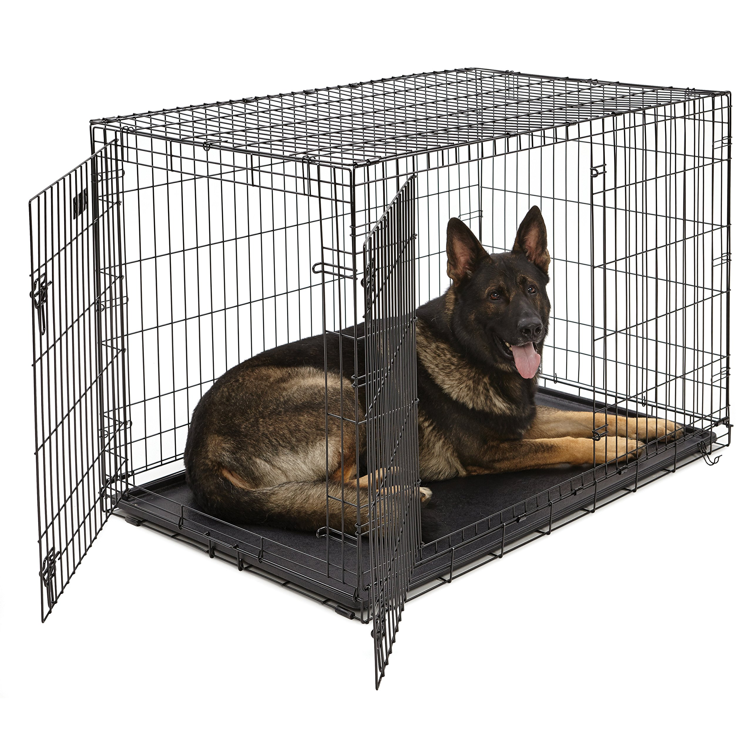 XL Dog Crate | MidWest iCrate Double Door Folding Metal Dog Crate w/ Divider Panel, Floor Protecting Feet & Leak-Proof Dog Tray | 48L x 30W x 33H Inches, XL Dog Breed, Black by MidWest Homes for Pets
