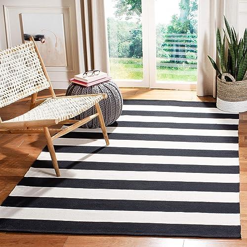 Safavieh Montauk Collection MTK712D Handmade Flatweave Black and Ivory Cotton Area Rug 4' x 6'