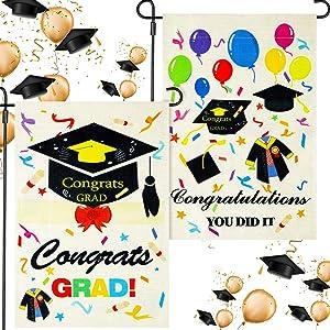 Oudain 2 Pieces 2021 Graduation Garden Flag Congratulations Graduation House Flag Diploma You Did It Burlap Double Sided Decorative Seasonal Flag Decor for Indoor Outdoor Yard Decoration, 18 x 12 Inch