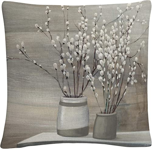 Trademark Fine Art Pussy Willow Still Life Gray Pots Crop by Julia Purinton, 16×16 Decorative Throw Pillow