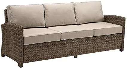 Crosley Furniture Bradenton Outdoor Wicker Patio Sofa with Cushions - Sand