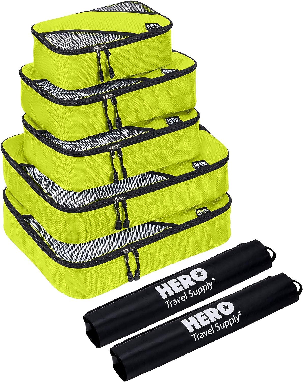 HERO Packing Cubes (5 Set) – Travel Organizers with 2 Bonus Laundry Bags