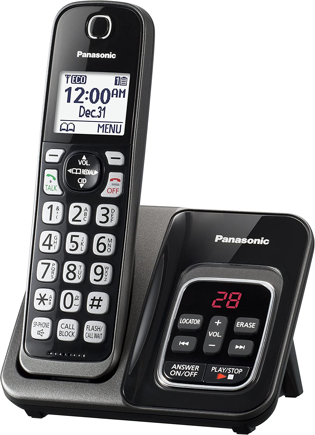PANASONIC 1 HANDSET DECT 6.0 CORDLESS WIRELESS PHONE TELEPHONE ANSWERING SYSTEM