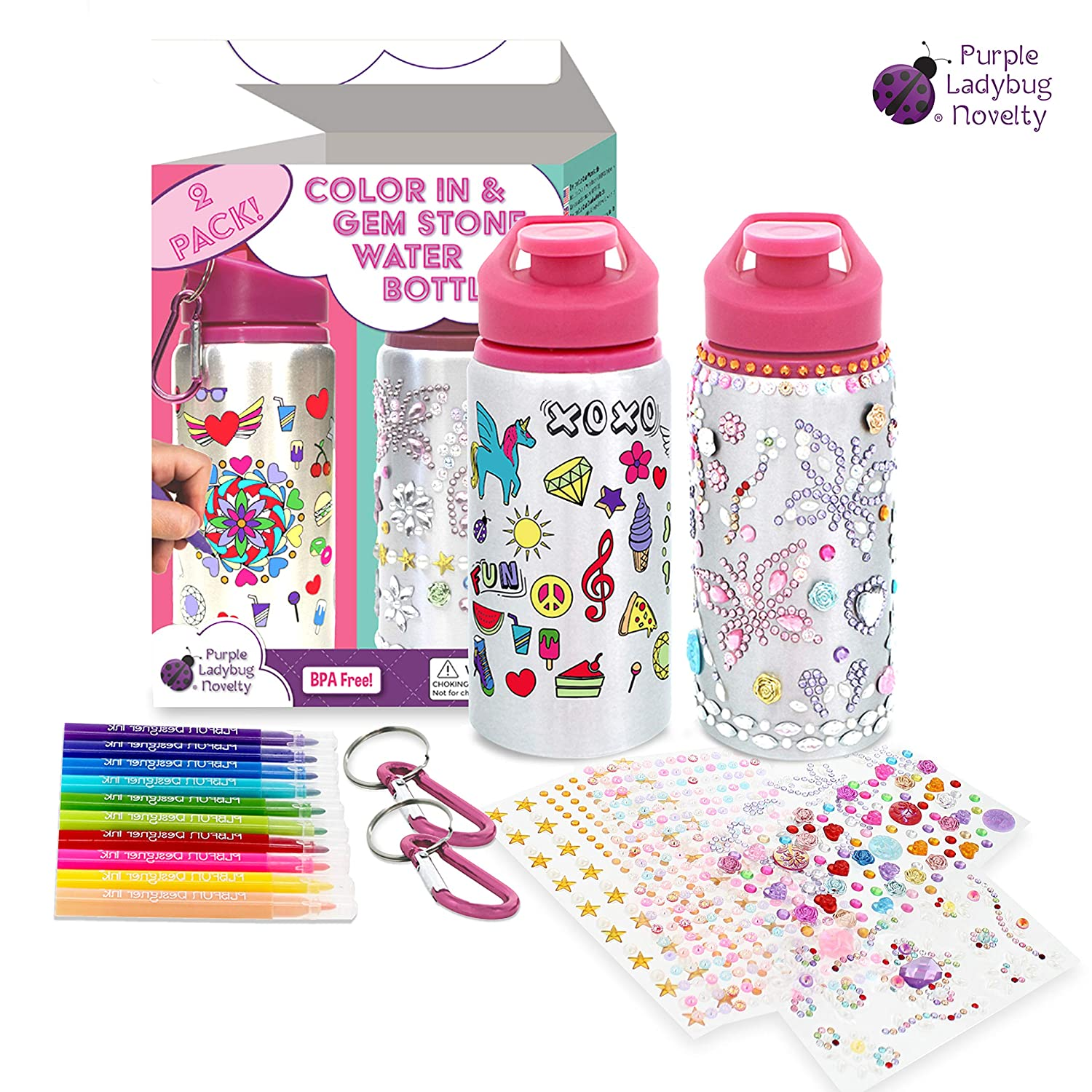 Two Water Bottles Set for Girls - Our Color Your Own Kids Water Bottle Plus Our Decorate Your Own Glitter Gem Water Bottle with Coloring Markers   Sheets of Rhinestone Stickers  Great Gifts for Girl