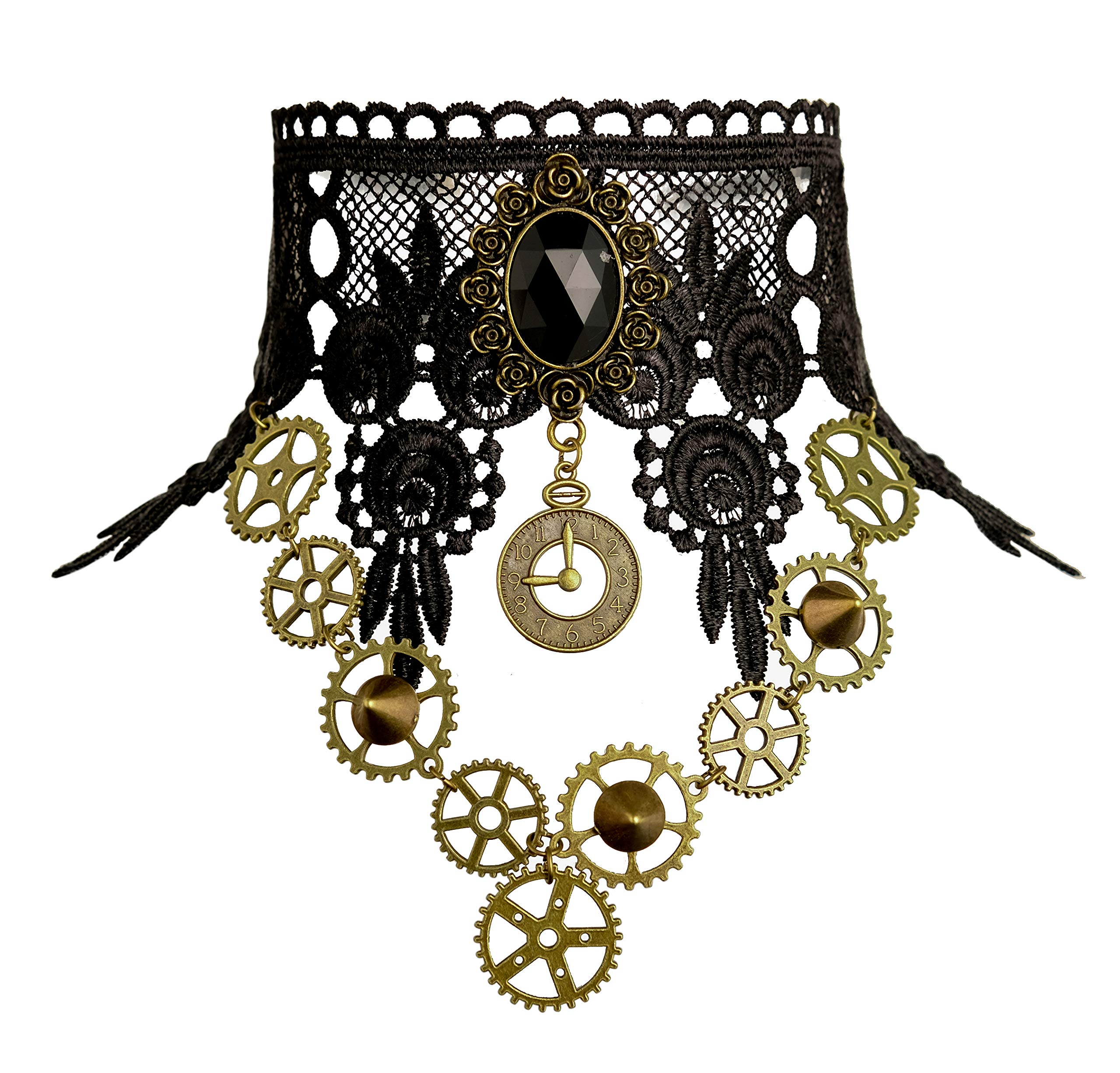 Zivyes Steampunk Accessories for Women Victorian Costume Gothic Lolita Choker Necklace Bracelet Earrings 4