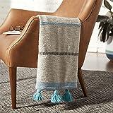 Amazon Brand – Rivet Modern Throw Blanket with Tassels - 50 x 60 Inch, Blue / Grey